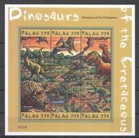 U439 PALAU FAUNA DINOSAURS OF THE CRETACEOUS REPTILIES 1KB MNH - Prehistorics