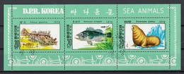 DPR Korea 1979 Sc. 1891a Vita Marina : Inimicas Japonicus - Sebastes Schlegeli - Leone Di Mare Sheet CTO - Corea Del Nord
