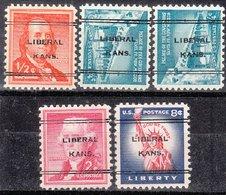 USA Precancel Vorausentwertung Preo, Locals Kansas, Liberal L-5 TS, 5 Diff. - Vereinigte Staaten