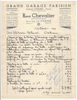 23 - La Courtine - Facture De 1943 En-tete De Commerce :  Garage Parisien Agence Citroen - Rene Chevalier Pres  Gare - Francia