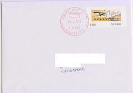 Singapore 2019 Atm Frama Label 100 Years Of First Airmail Flight 1v On Cover - ATM - Frama (vignetten)