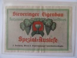 Autriche - Vieille étiquette De Vin Sieveringer Eingebau Spitzenwein Der Ostmark, Vienne / Wien - Non-daté, Vers 1945 - Etiquettes