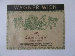 Autriche - Vieille étiquette De Vin Wagner Wien 1946 - Zellerndorfer Wien / Vienne - Etiquettes