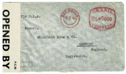 Ref 1312 - 1942 WWII Censored Cover - Sao Paulo Brasil To Ipswich UK - Super Meter Mark - Brazil