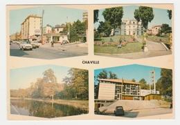 92 Chaville En 4 Vues De 1986 Station Essence Shell ESSO Jaguar ? Citroën 2CV Ami 6 Simca P60 - Chaville