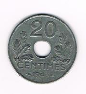 //  FRANKRIJK  20 CENTIMES  1943 - E. 20 Centimes
