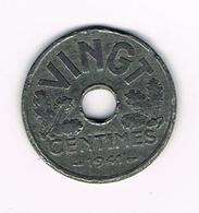 //  FRANKRIJK  20 CENTIMES  1943 VICHY FRENCH STATE ISSUES - E. 20 Centimes