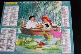 Calendrier Des Postes PTT 1999, SOMME: DISNEY La Petite Sirène, Mulan, 2 Photos Sur Carton Fort - Calendriers