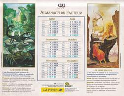 Calendrier Des Postes PTT 1999, SOMME: LES QUATRE ELEMENTS: Terre, Air, Eau, Feu, 4 Photos Sur Carton Souple - Calendriers