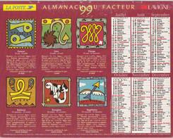 Calendrier Des Postes PTT 1999, SOMME Les Signes Du Zodiaque, Sur Carton Souple - Calendriers