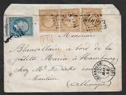 1864 - LSC - Bande X 3 10c (21) (pli), 20c (22) A HAMBOURG - A Bord De La Goëlette Maria - 1849-1876: Période Classique