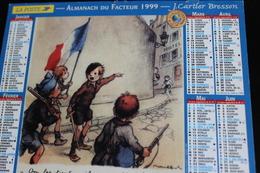 Calendrier Des Postes PTT 1999, Région Parisienne, Les Poulbots, 2 Photos Sur Carton Souple - Kalenders