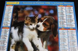 Calendrier Des Postes PTT 1998, Chaton Et Beagle, Cavalier King Charles,  2 Photos Sur Carton Souple - Calendriers