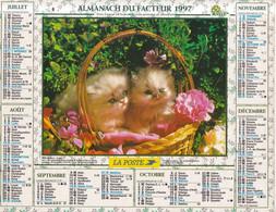 Calendrier Des Postes PTT 1997, SEINE MARITIME,fillette Et Chat, Chatons, 2 Photos Sur Carton Souple - Calendriers