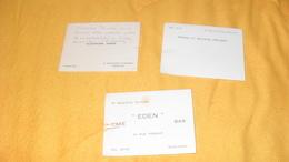 LOT DE 3 CARTES DE VISITES / SIMONE ET MAURICE KOLSKY, ALEXANDRE SABER, MR GOUDAL CLAUDE EDEN CAFE BAR BOULOGNE... - Cartoncini Da Visita