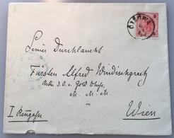 """CIZOWA 1893 Brief > FÜRST ALFRED WINDISCHGRAETZ WIEN, Abs """"Vraz P. Cizova"""" (Böhmen Czech Republic  Österreich Adel - Briefe U. Dokumente"""