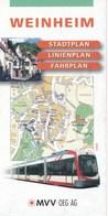 Weinheim 2003 Stadtplan - Linienplan - Fahrplan MVV OEG AG Strassenbahn Bus Faltblatt 5 Seiten - Europe