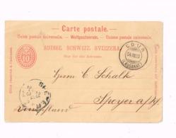 Entier Postal à 10 Centimes.Expédié De Cour (Lausanne) à Spreyer (Allemagne) - Entiers Postaux