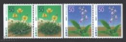 Japon - Japan 2001 Yvert 3067a-68a, Hokkaido Prefacture, Flora, Flowers - From Booklet - MNH - 1989-... Imperatore Akihito (Periodo Heisei)