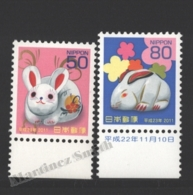 Japon - Japan 2010 Yvert 5273+5275, New Year, Rabbit Lunar Year - MNH - Unused Stamps