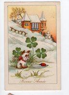 1638 - BONNE ANNEE  - Paysage D'hiver - Chien - Coccinelle - Nieuwjaar