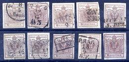 AUSTRIA 1850-54 6 Kr. On Machine Paper - 10 Used Examples.  Michel 4y - 1850-1918 Imperium