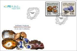 TURKEY/2019 - (FDC) PRECIOUS STONES (Blue Chalcedony, Agate), MNH - Nuevos