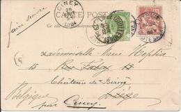 """1902 - N° 124 Sur Carte De Luxeuil + Timbre Belge Pour """"faire Suivre"""" De Liège à Ciney - 1900-02 Mouchon"""