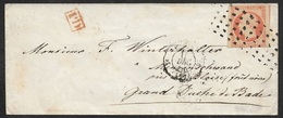 1856 - Enveloppe 40c (16) GRANDS POINTS CARRÉS A MENZENSCHWAND, Duché Bade - Amb. Paris A Strasbourg - Marcophilie (Lettres)
