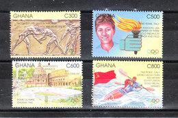 Ghana -   1996. Lotta, Fiaccola, Stadio Canoa. Wrestling, Torch, Stadium, Canoe. Complete MNH Series - Estate 1996: Atlanta