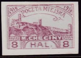 POLAND 1919 Checiny Local 8 HAL Mint Imperf - Non Classés