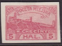 POLAND 1919 Checiny Local 5 HAL Mint Imperf - Non Classés