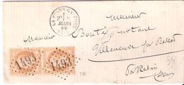 10c.Empire Lauré Paire Verticalr Oblitéré G.C.1493 Dateur Type 16 LA FERTE GAUCHER - Storia Postale