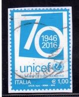 ITALIA REPUBBLICA ITALY REPUBLIC 2016 IL SENSO CIVICO UNICEF € 0,95 USATO USED OBLITERE' - 6. 1946-.. Repubblica