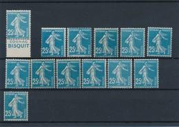 CX-186: FRANCE: Lot Avec Semeuses Camées Avec  N°140**type 2- 3B(11)-3C (roulette**) - 1906-38 Semeuse Camée