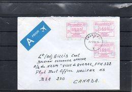 BELGIUM - VIGNETTE BRUPHILA 95 - CHARLEROI 1996 TO BELGIAN SOLDIER ON CANADIAN SHIP - HALIFAX - CANADA NATO   - UN2 - Automatenmarken (ATM)