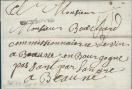 France 1778, De Troyes, 23 Janv à Beaune, Lettre Complète, Full Letter - One Line Marking DE TROYES - Marcofilie (Brieven)