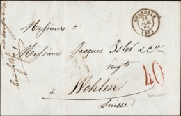 France 1861, Grenoble 21 Nov Couverture Par Lyon à Paris Et Paris à Bale Jusqu'a Wohlen, 23 Nov 65 - Postmark Collection (Covers)