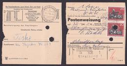 Karl Liebknecht 20 Pf, Seltene Verwendung, EF Stralsund  Postanweisung St. Metschow über Demmin, Aktenlochung In Marke - DDR