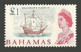 BAHAMAS 1965 SHIPS EXPLORERS COLUMBUS DEFINITIVE TOP VALUE MNH - Bahamas (1973-...)