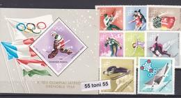Hungary 1967/68 Olympic Games Grenoble( Icehockey, Biathlon, Skating)Mi2379/86+Bl.62A 8v.+S/S-MNH - Winter 1968: Grenoble