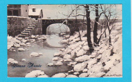 PAYSAGES - Jolie Carte Fantaisie Bonne Année ( Pont Et Neige ) Signée BERTIGLIA - Bertiglia, A.