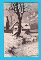 PAYSAGES - Jolie Carte Fantaisie Village Dans La Neige Bonne Année Signée BERTIGLIA - Bertiglia, A.