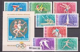 Hungary 1968 Sport Olimpic Games- Mexico  Michel: 2434/41A+Bl.65A 8v.+S/S-MNH - Verano 1968: México