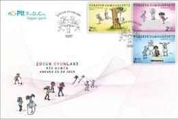 TURKEY/2019 - (FDC) KID GAMES (CHILDREN, HOPSCOTCH, HIDE AND SEEK, MARBLES), MNH - Nuevos