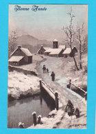 PAYSAGES - Jolie Carte Fantaisie Village Dans La Neige ( Pont Personnages ) Bonne Année Signée BERTIGLIA - Bertiglia, A.