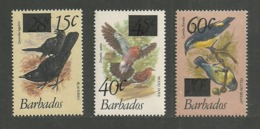 BARBADOS 1979 BIRDS OVERPRINT ADDITIONS 3 VALUES SET MNH - Barbados (1966-...)