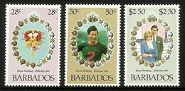 BARBADOS 1981 ROYALTY ROYAL WEDDING CHARLES & DIANA SET MNH - Barbados (1966-...)