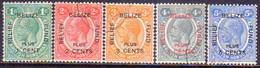 British Honduras 1932 SG #138-42 Compl.set Used CV £110 Belize Relief Fund - British Honduras (...-1970)