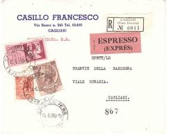 RACCOMANDATA ESPRESSO CASILLO FRANCESCO CAGLIARI - 6. 1946-.. Repubblica